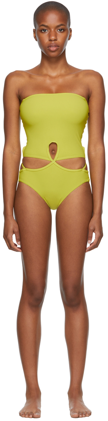 Green Looped Adjustable Strapless One-Piece Swimsuit