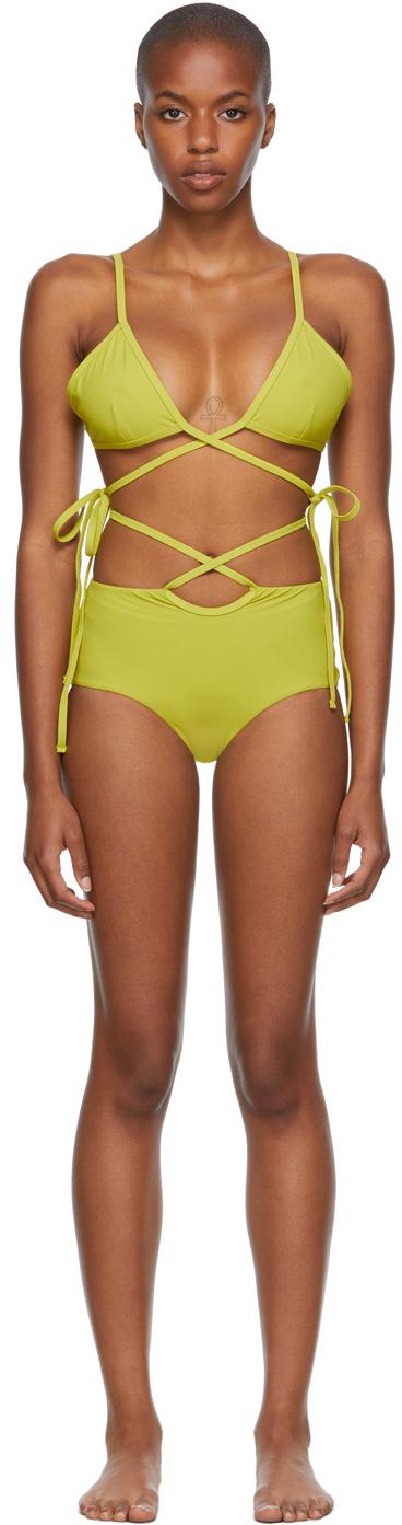 Green Wrapped Tie & Loop Tie Bikini