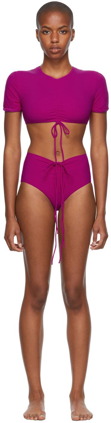 Pink Ruched Crop & Odessa Bikini