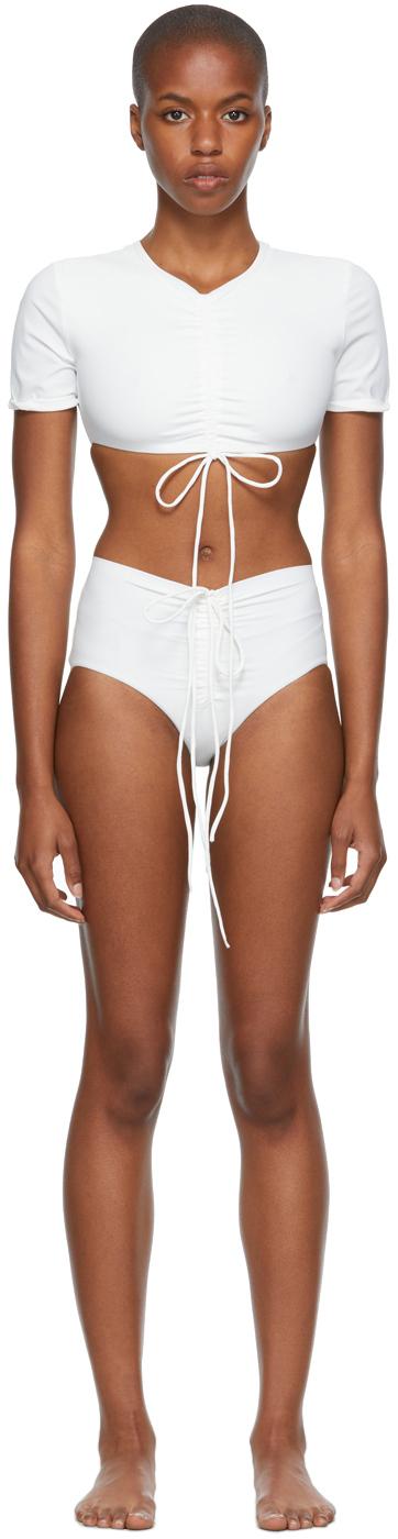 White Ruched Crop & Odessa Bikini