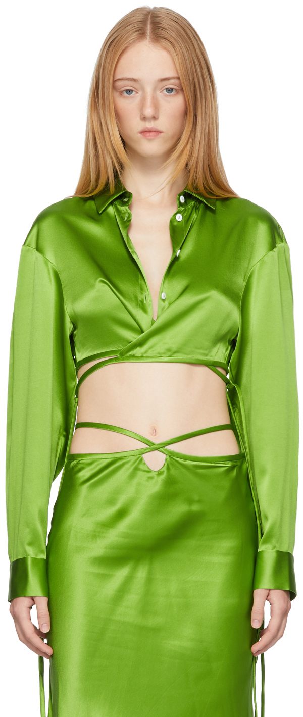 Green Cropped Tie Shirt
