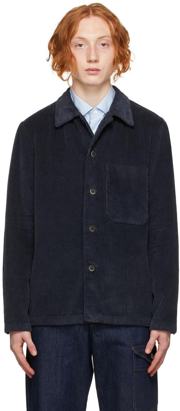 Navy Corduroy Overshirt Jacket