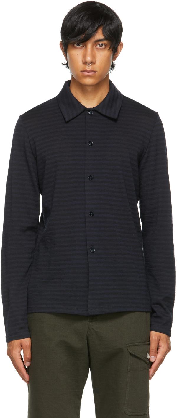 Navy & Black Striped Roncola Daoto Shirt
