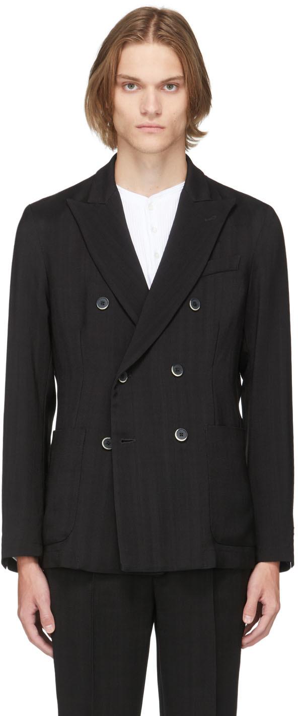 Black Wool Molena Ramato Double-Breasted Blazer