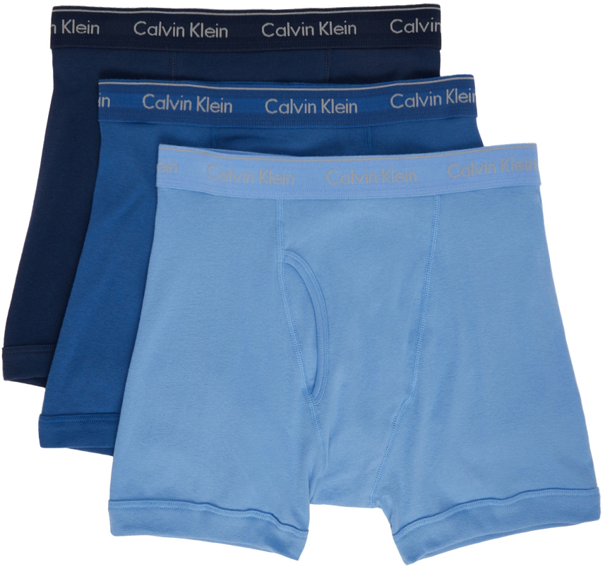 Three-Pack Blue Classic Fit Boxer Briefs