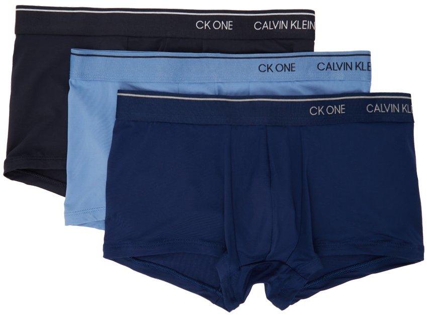Three-Pack Blue Microfiber 'CK ONE' Trunk Boxers