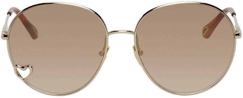 Gold Aimee Round Sunglasses