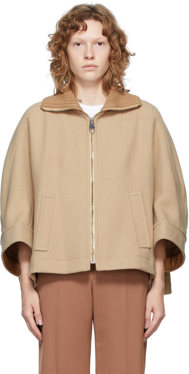 Beige Virgin Wool Cape-Style Jacket
