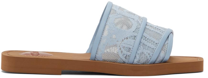 Blue Lace Woody Flat Mules