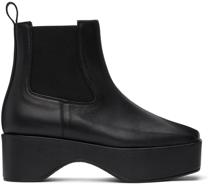 Black Squared Toe Chelsea Boots