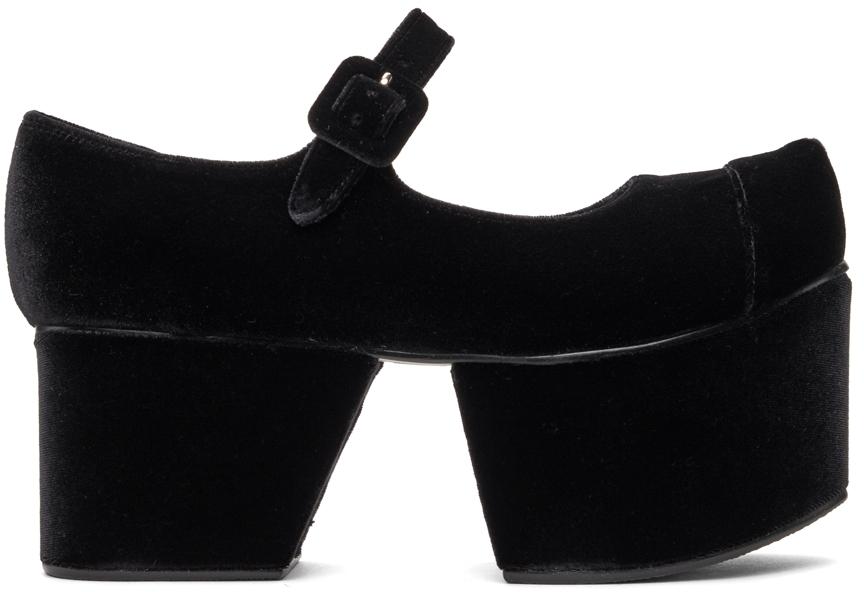 Black Pointed Toe Mary Janes Platform Ballerina Flats