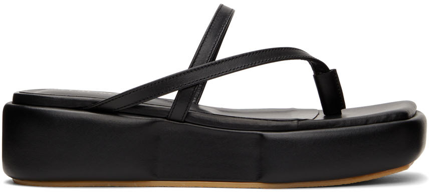 Black Puffed Platform Sandals