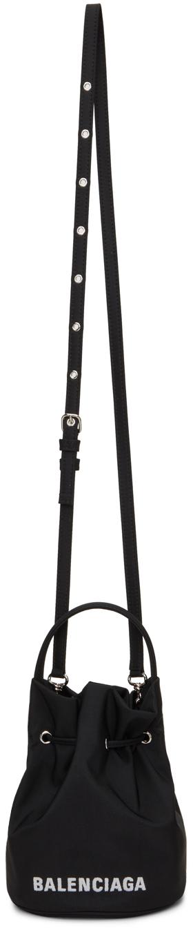 Black XS Drawstring Wheel Bucket Bag