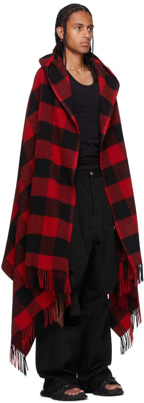 Balenciaga ブラック & レッド Blanket フード コート