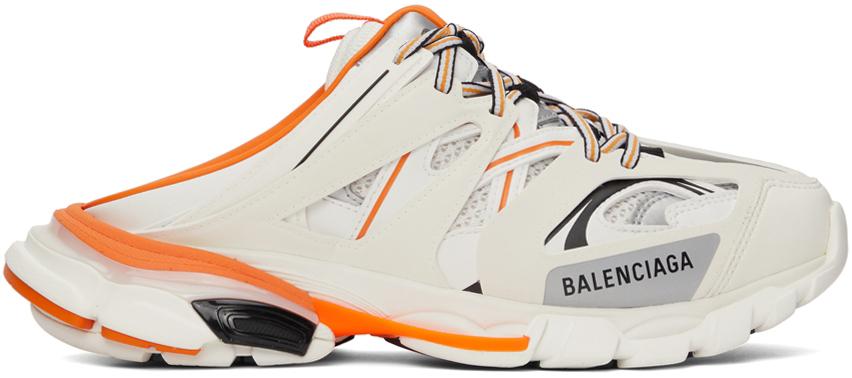 White & Orange Track Mule Sneakers