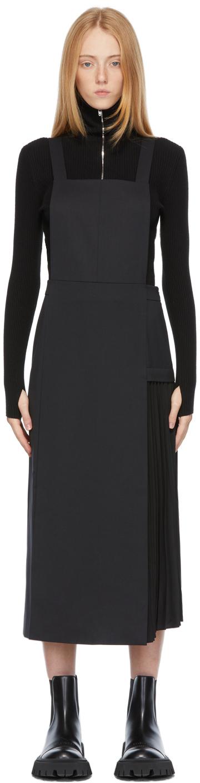Black Pleated Suspended Dress
