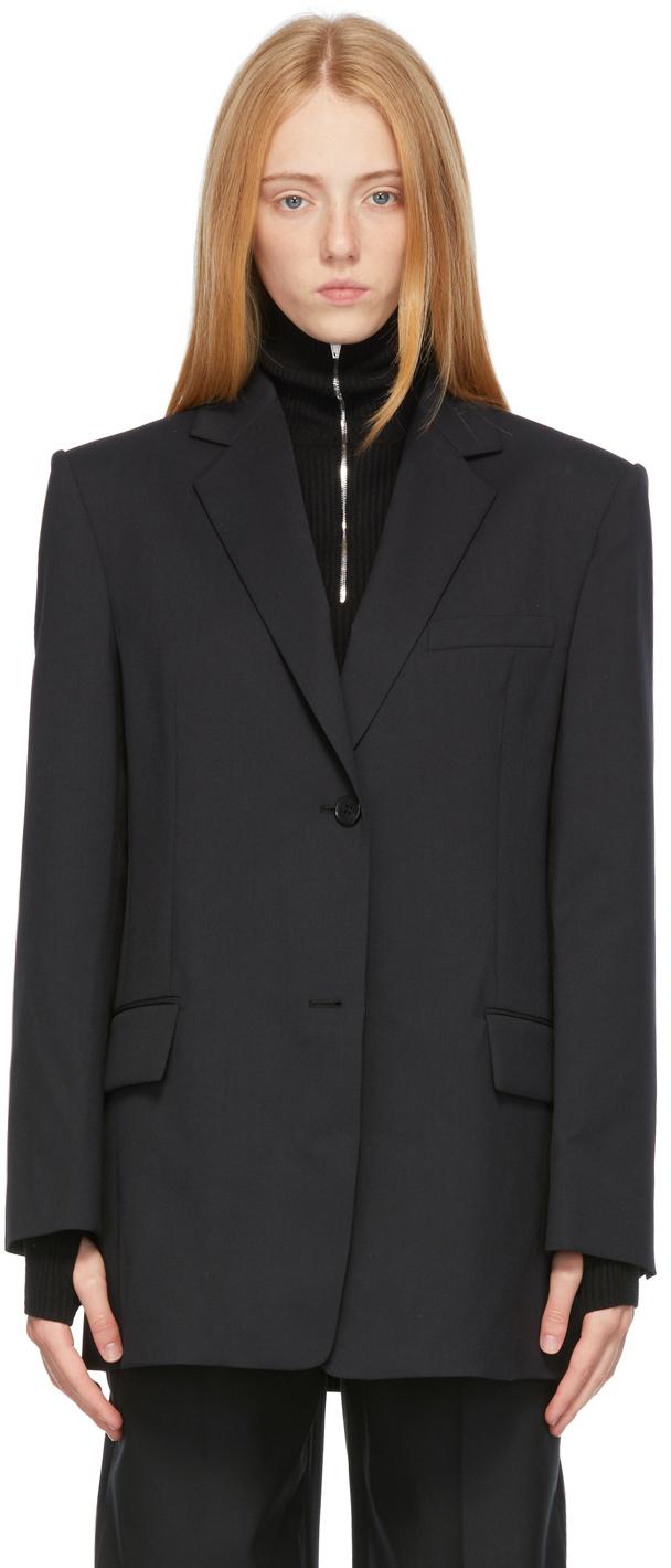 Black Wool Oversized Blazer