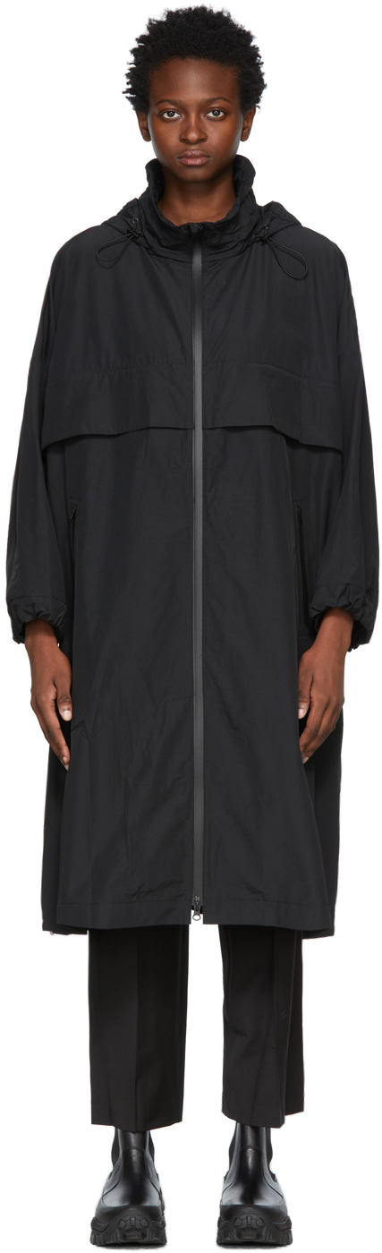 Black Oversized Hooded Zip Coat