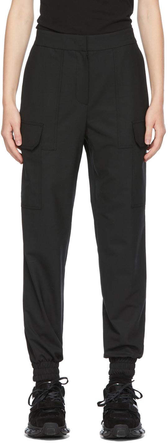 Black Wool Cargo Trousers