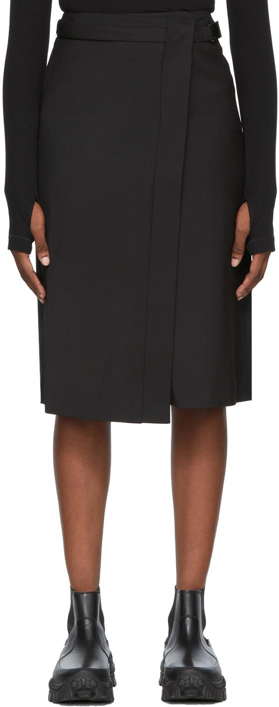 Black Wrap Mid-Length Skirt