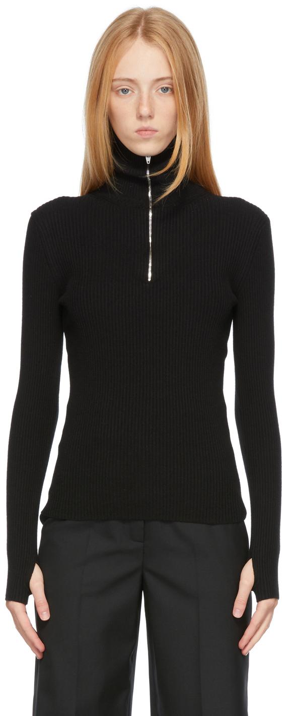 Black Rib Knit Turtleneck Half-Zip Sweater