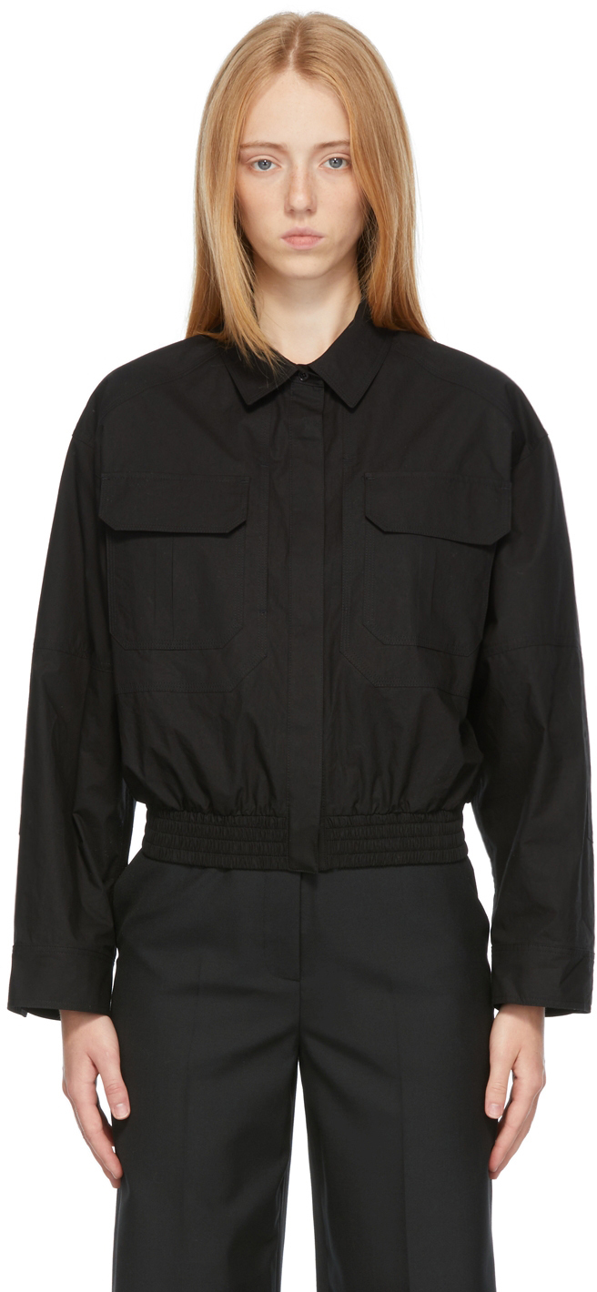 Black Poplin Two-Pocket Shirt