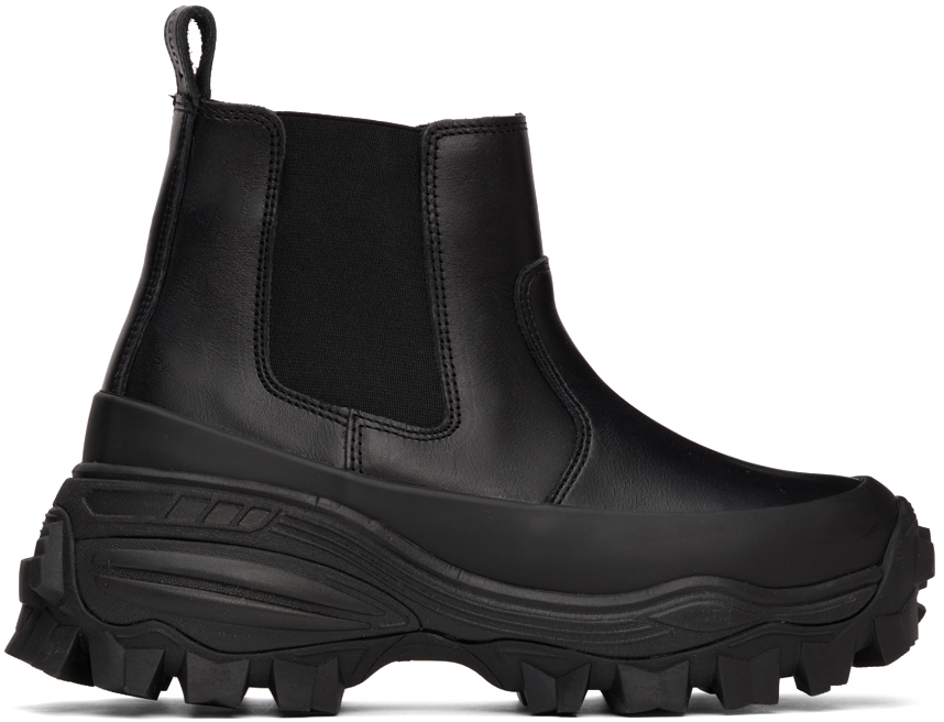 Black Chunky Leather Chelsea Boots
