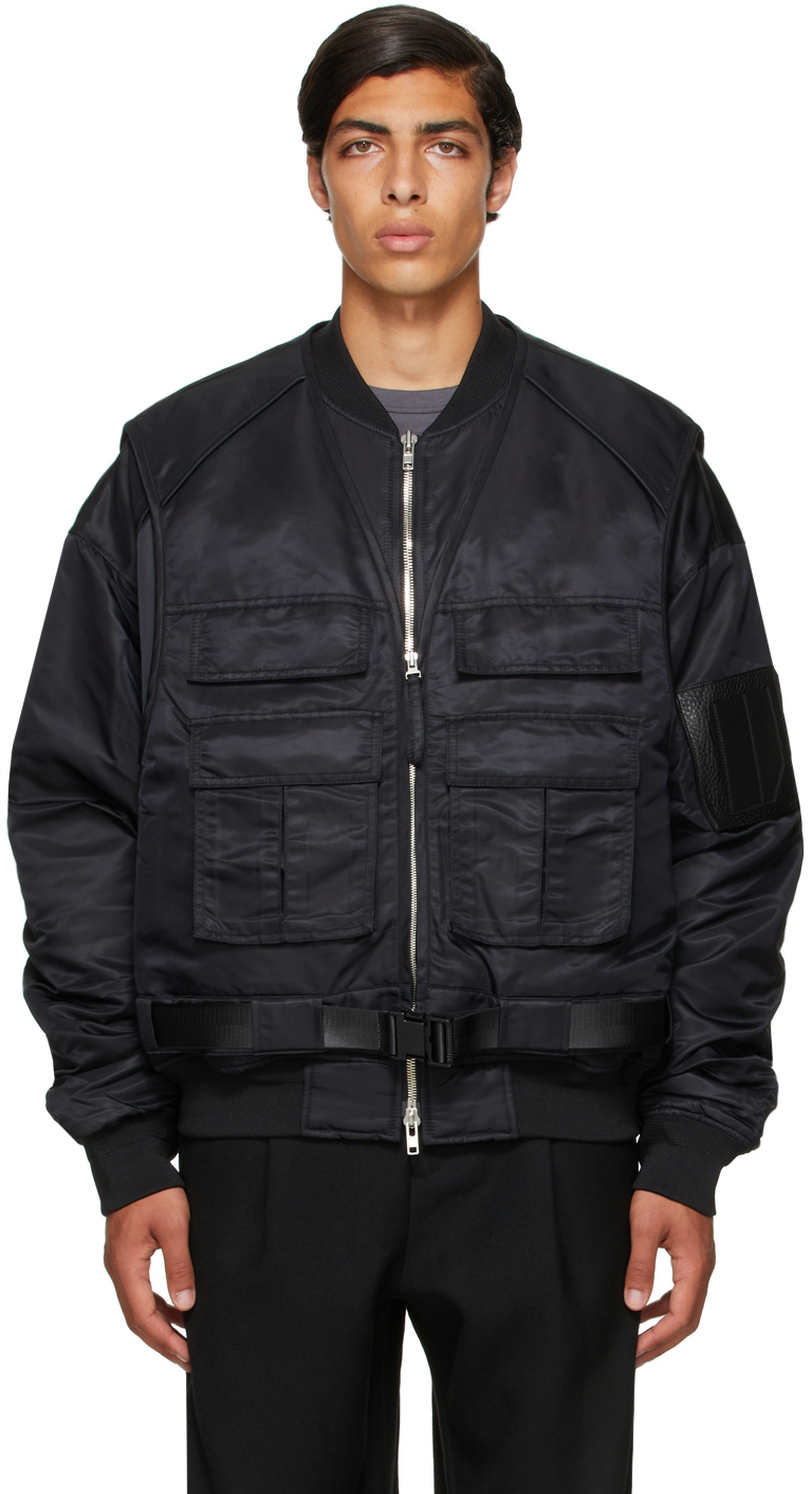 Black Vest Layered Bomber Jacket