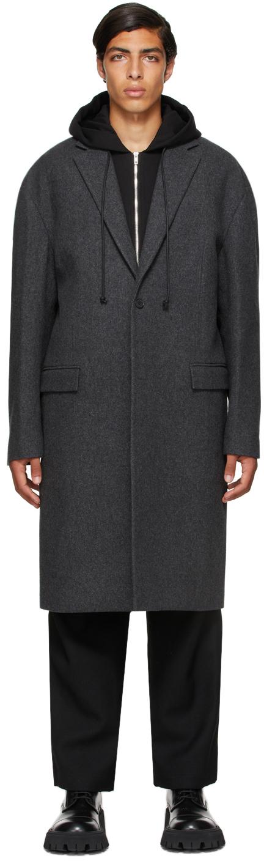 Grey Wool Detachable Hood Long Coat