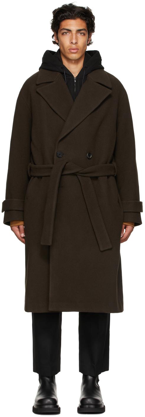 Brown Wool Layered Coat