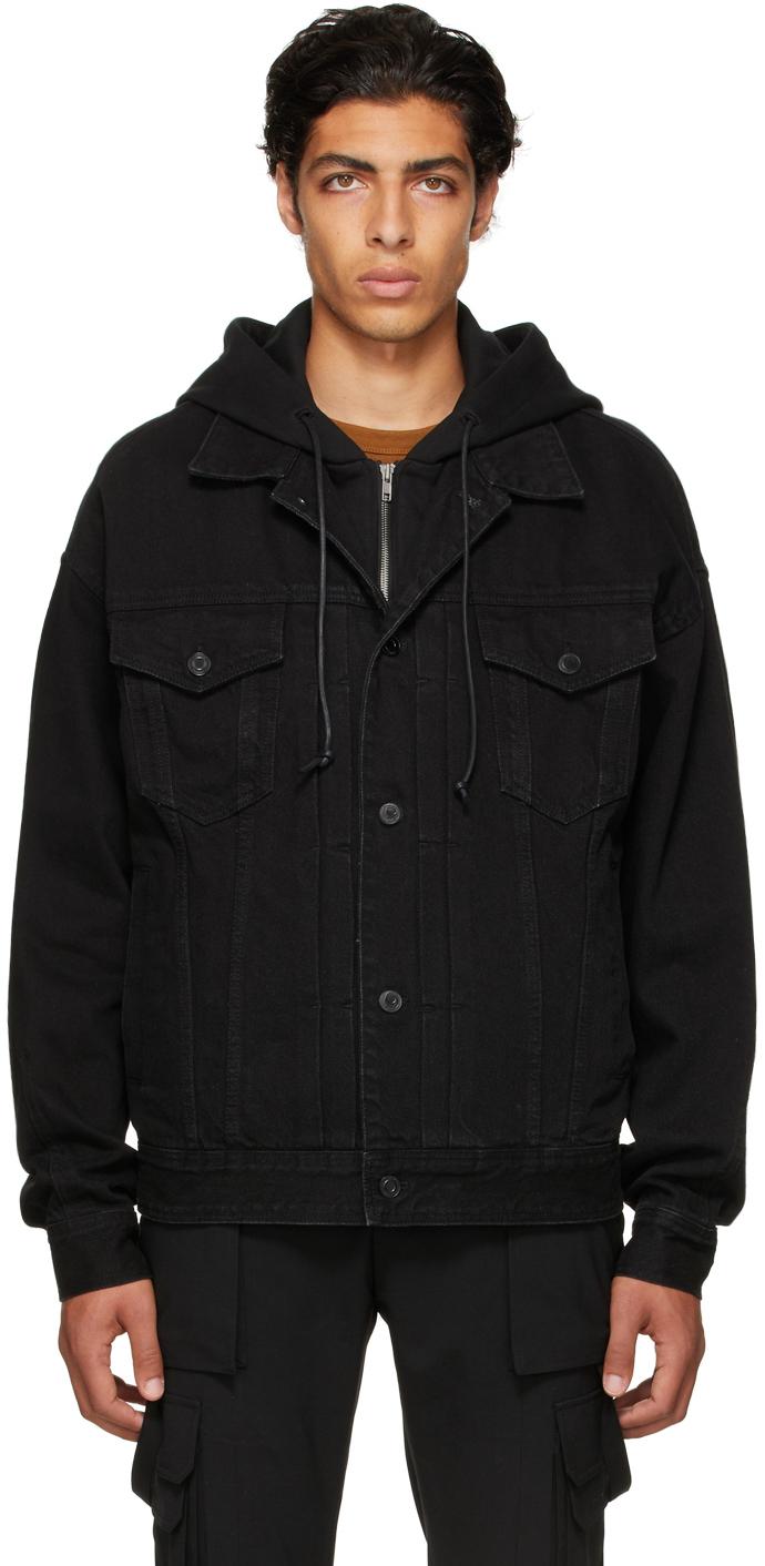 Black Denim Detachable Hood Trucker Jacket