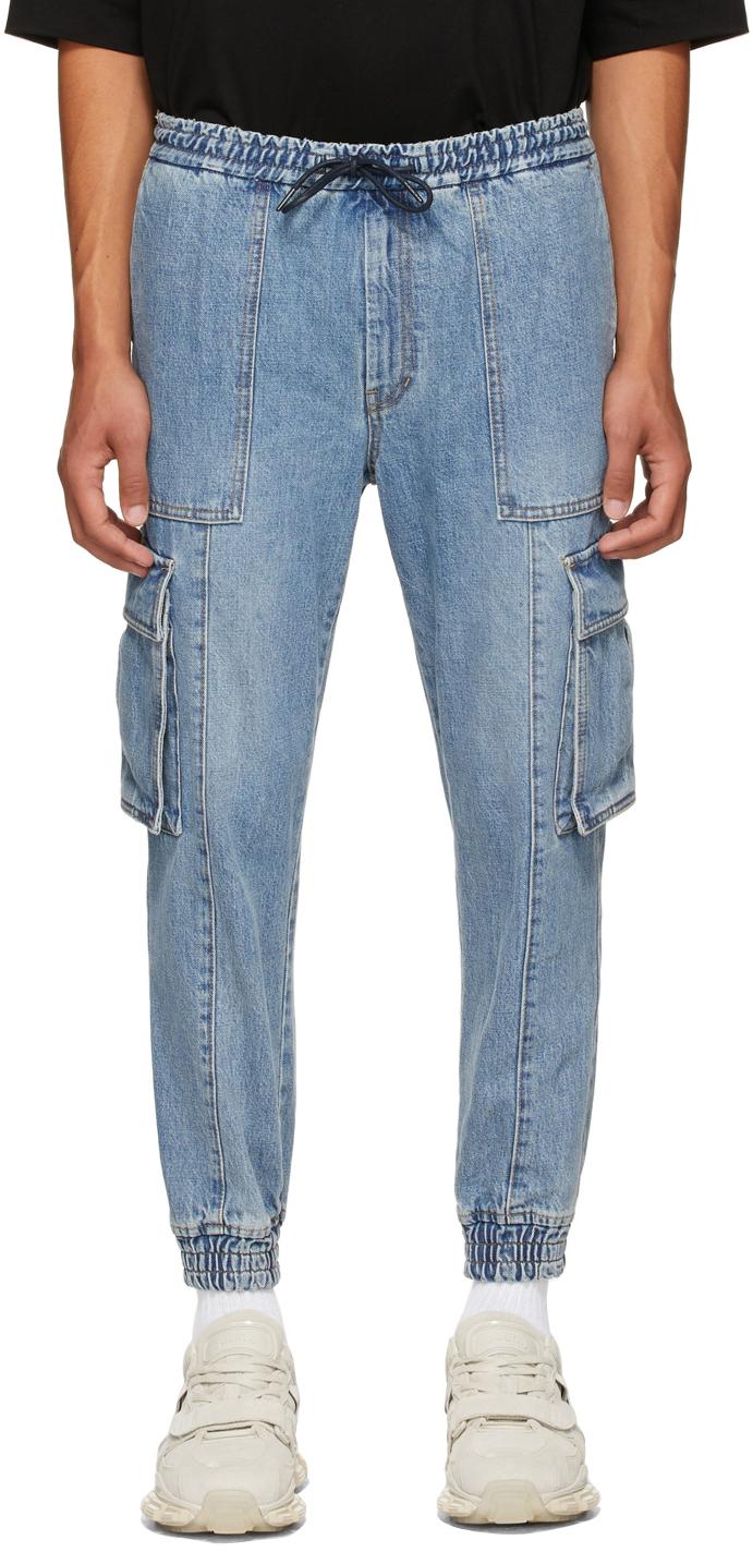Blue Denim Cargo Pants