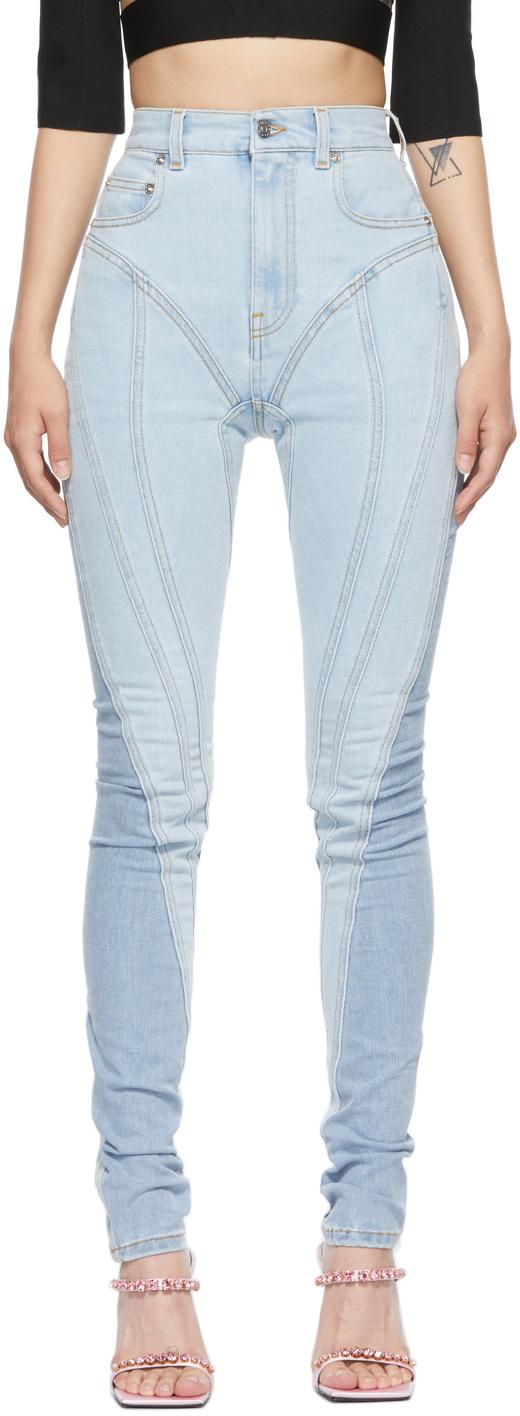 Blue Skinny-Fit Spiraling Jeans