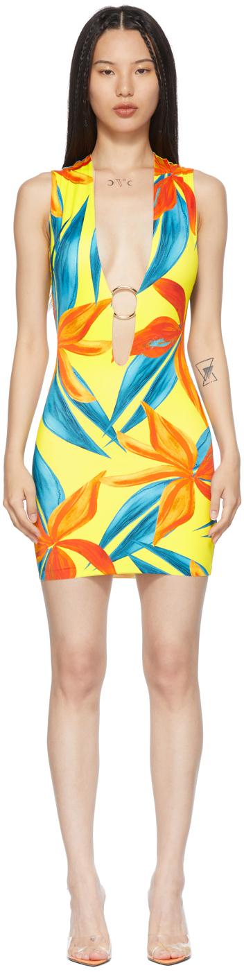 SSENSE Exclusive Yellow & Orange Sleeveless Ring Dress