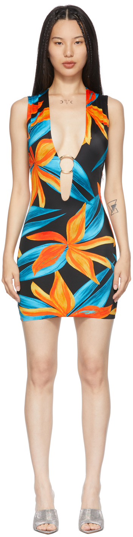 SSENSE Exclusive Black & Orange Sleeveless Ring Dress