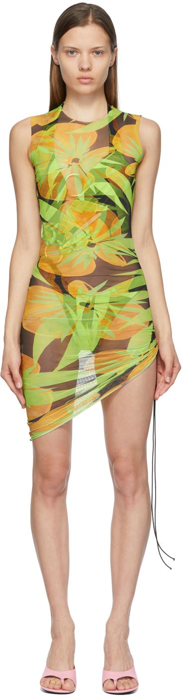 Black & Green Heatwave Ruched Dress