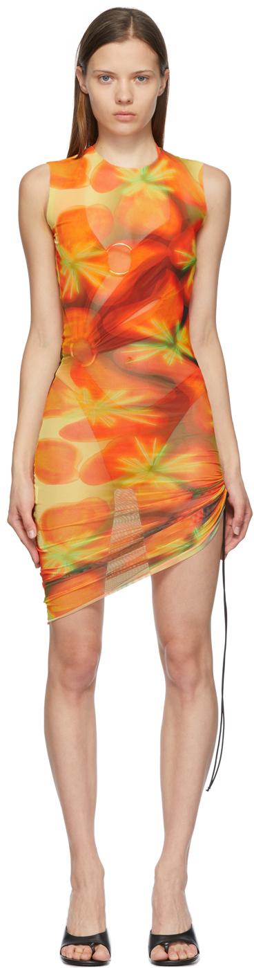 Yellow & Orange Heatwave Ruched Dress