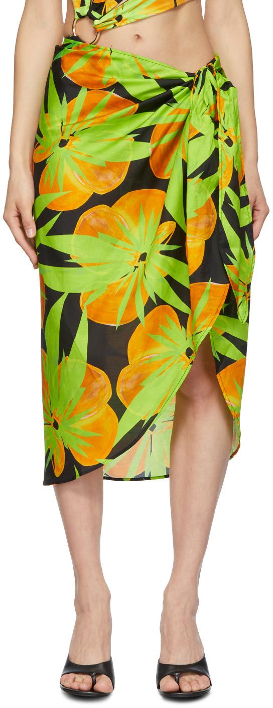 Black & Green Silk Sarong Skirt