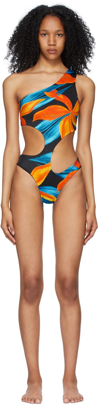 Blue & Orange Carve One-Piece Swimsuit