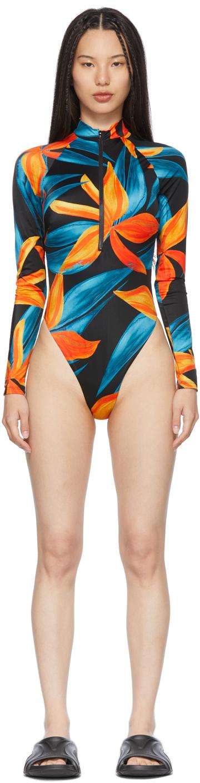 Black & Orange Springsuit One-Piece Swimsuit