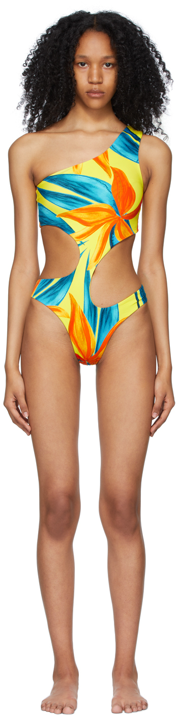 SSENSE Exclusive Yellow & Blue Carve One-Piece Swimsuit