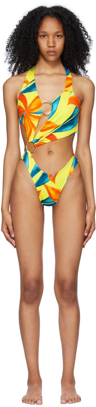 Yellow & Blue Sex Wax One-Piece Swimsuit