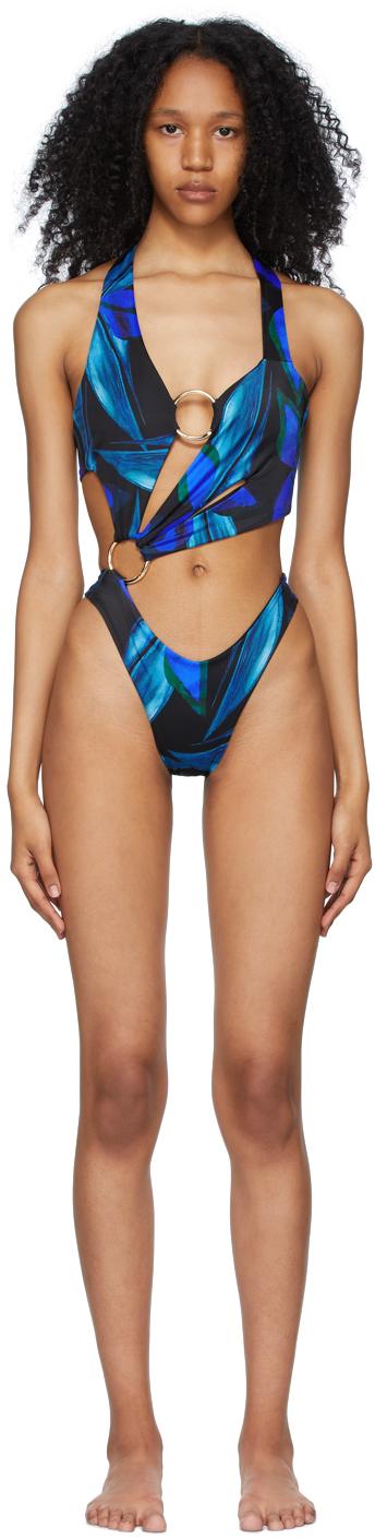 Black & Blue Sex Wax One-Piece Swimsuit