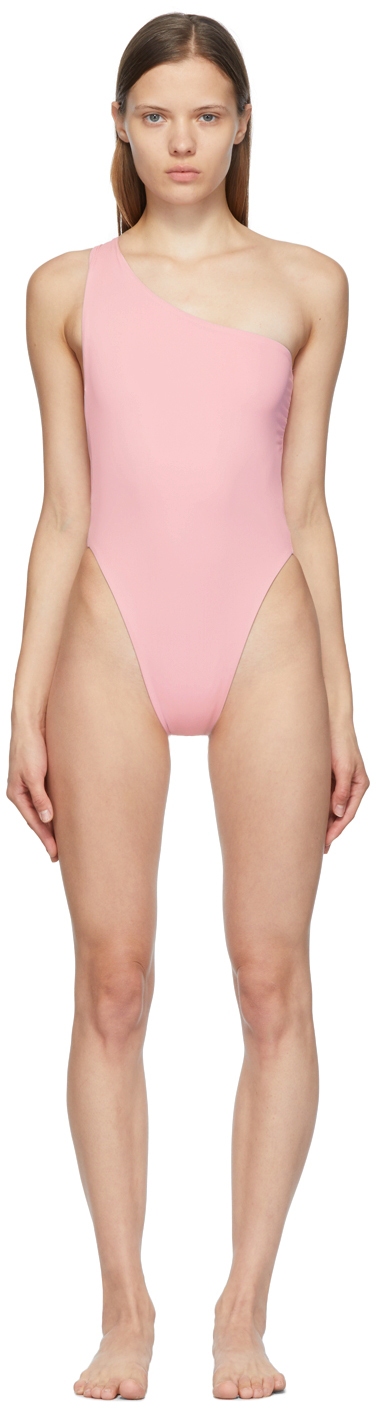 SSENSE Exclusive Pink Plunge One-Piece Swimsuit