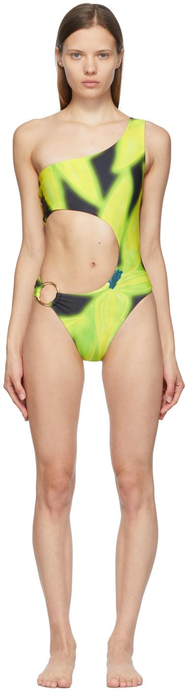 Black & Yellow Half Moon One-Piece Swimsuit