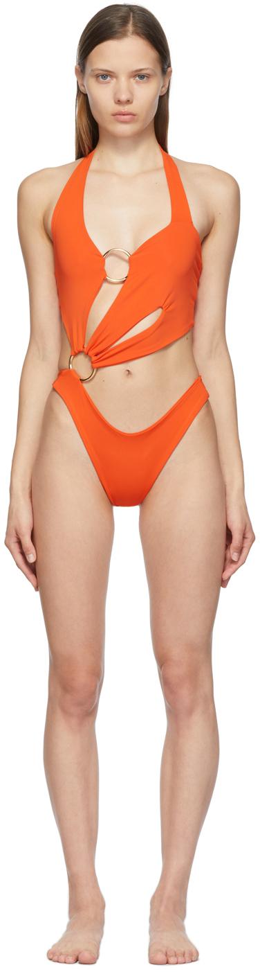 Orange Sex Wax One-Piece Swimsuit