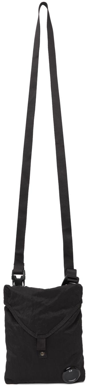 Black Nylon Logo Messenger Bag