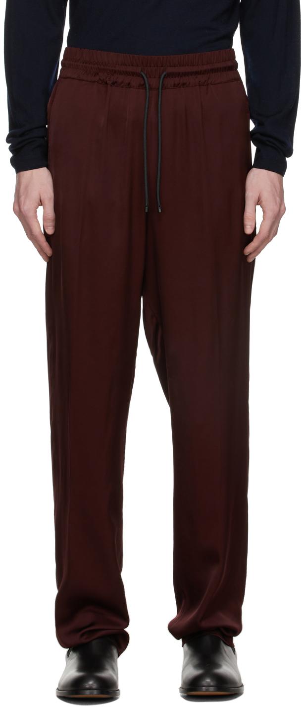 Burgundy Lightweight Viscose Satin Trousers