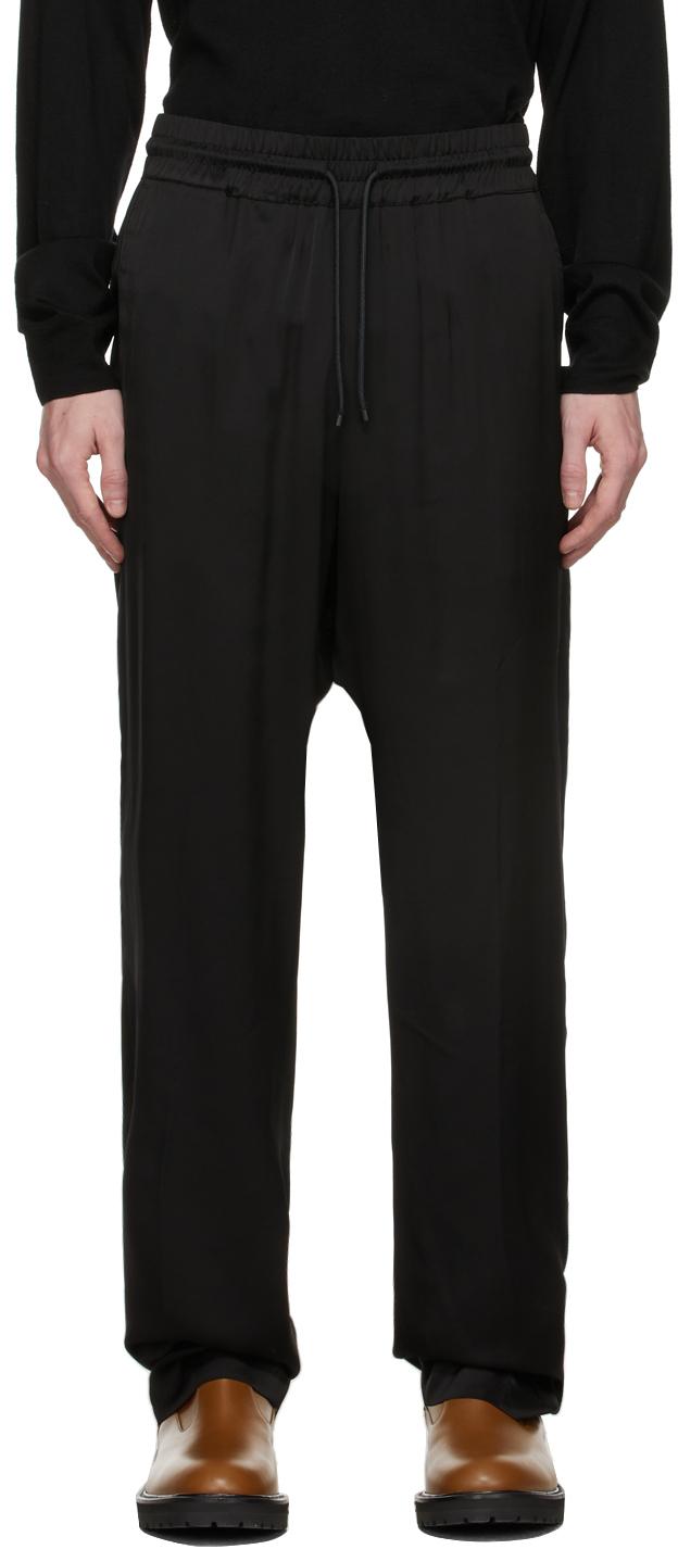 Black Lightweight Viscose Satin Trousers