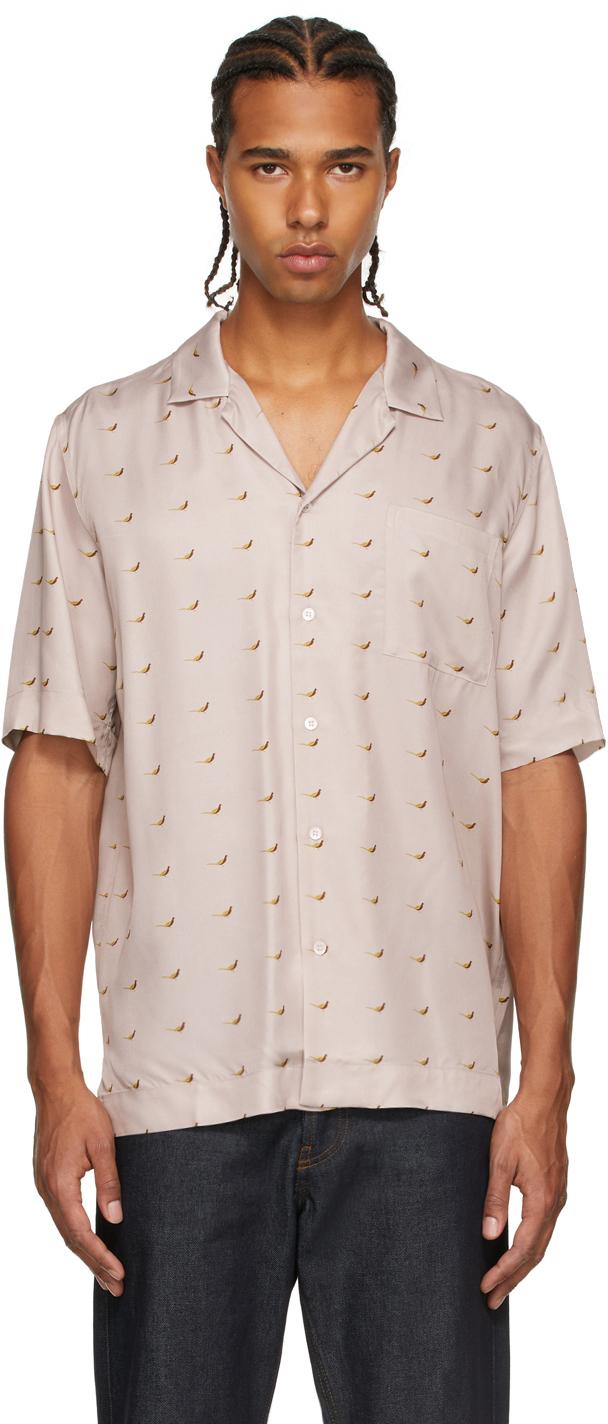 Taupe Viscose Printed Short Sleeve Shirt